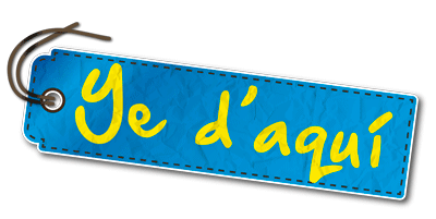 Logotipo Ye d'aquí (emulando bandera de asturias)